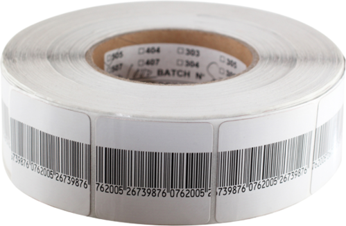 RF adhesive label 4x4 barcode for article surveillance RF8.2 MHz